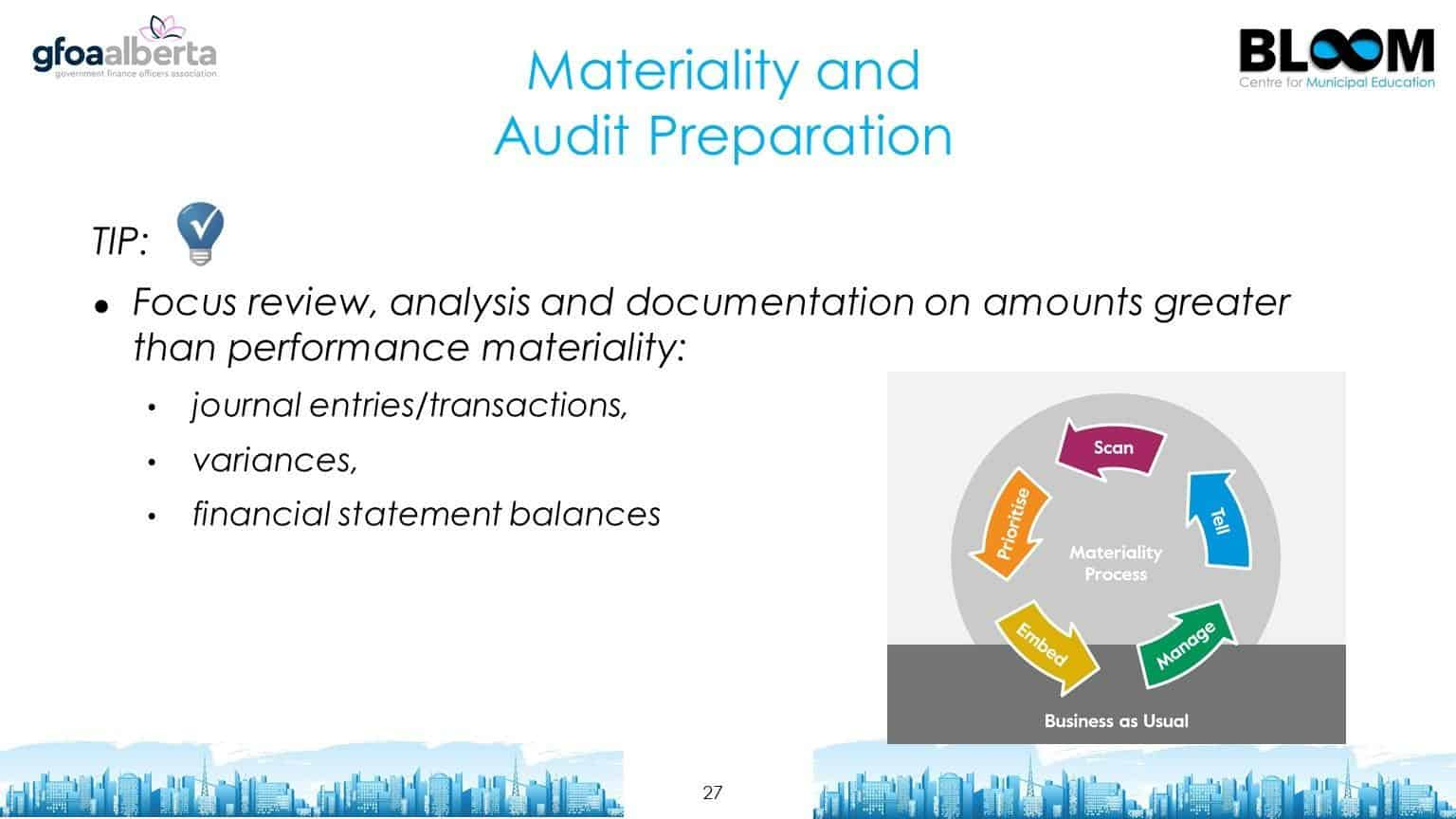 Materiality and audit preparation