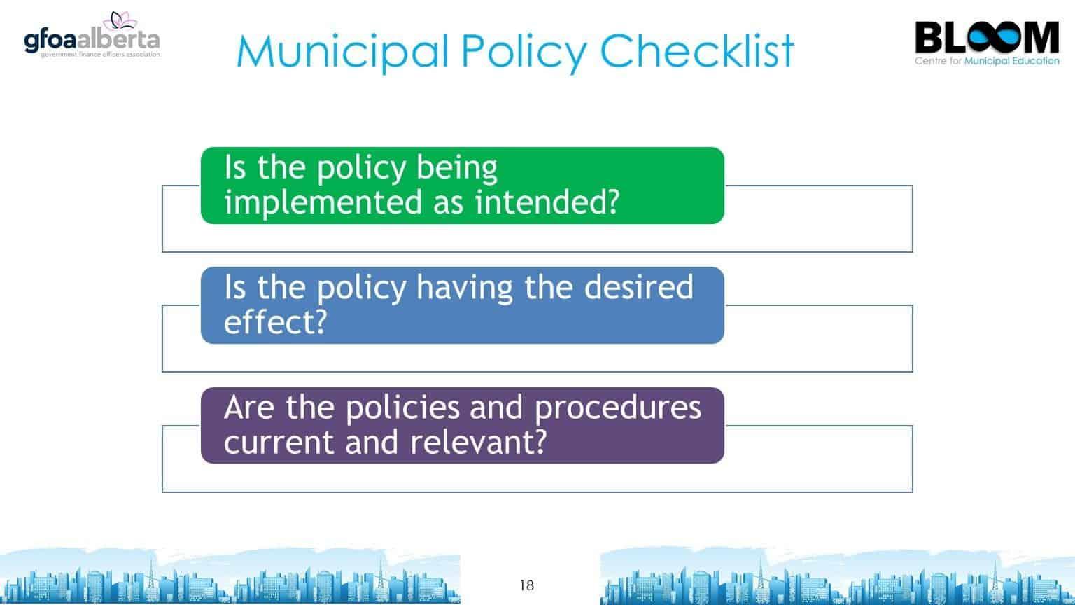 Municipal policy checklist