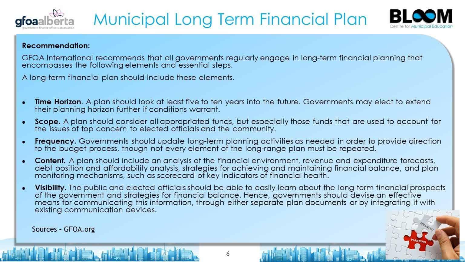 Municipal long term financial plan
