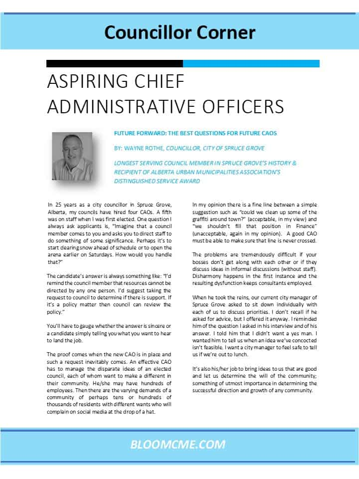 Councillor Corner - Aspiring Chief Administrative Officers